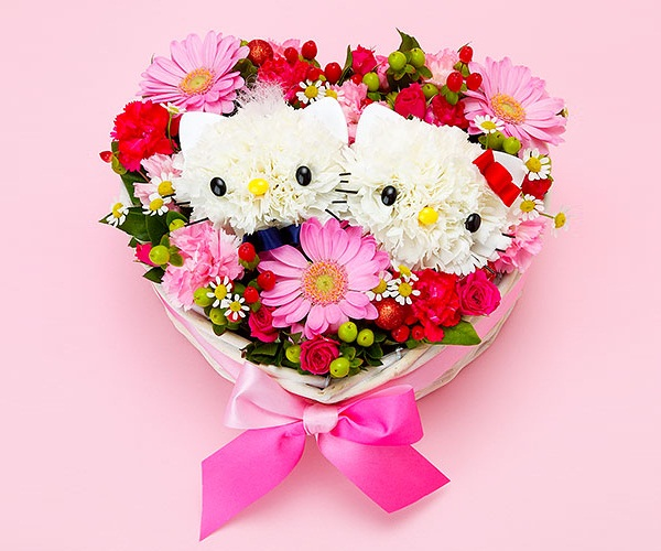 Học cách làm bó hoa hình Hello Kitty