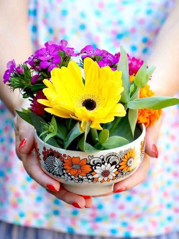 Nghệ thuật cắm hoa bằng bát