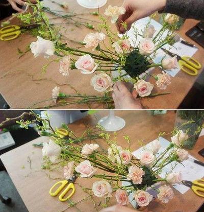Cách cắm hoa hồng hình lưỡi liềm