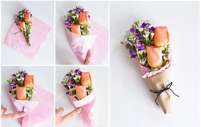 Cách bó hoa tươi xinh đơn giản