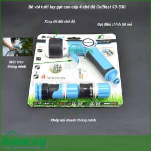 Bộ vòi tưới tay gạt cao cấp 4 chế độ Cellfast