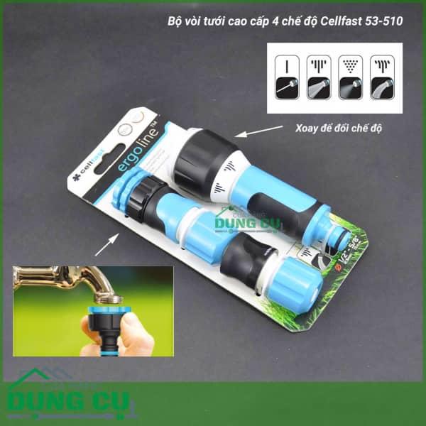 Trọn bộ vòi tưới xoay cao cấp 4 chế độ Cellfast 53-510