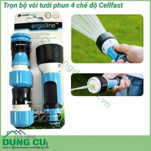 Trọn bộ vòi tưới phun 4 chế độ Cellfast