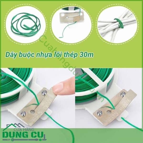 Cuộn dây buộc lõi thép vỏ nhựa 30m