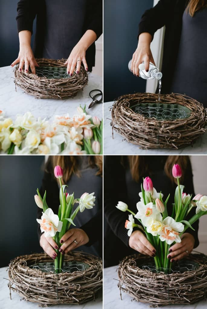 Nghệ thuật cắm hoa tulip trong tổ chim