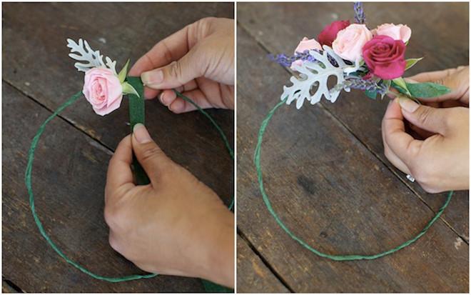 Cách kết vòng hoa đội đầu bằng hoa hồng