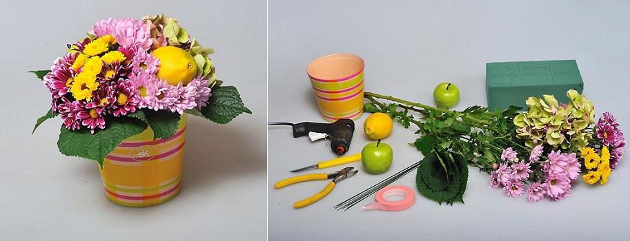 Cách cắm hoa xen quả độc đáo, mới lạ