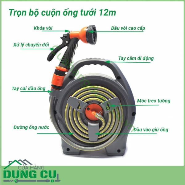 Bộ cuộn ống tưới vườn 12m kèm vòi tưới 6 chế độ
