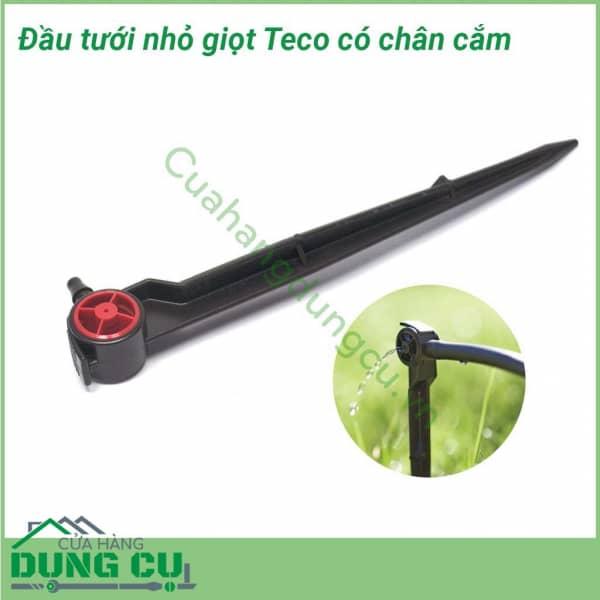 Đầu tưới nhỏ giọt Teco 2L/H bù áp cuối ống có chân cắm