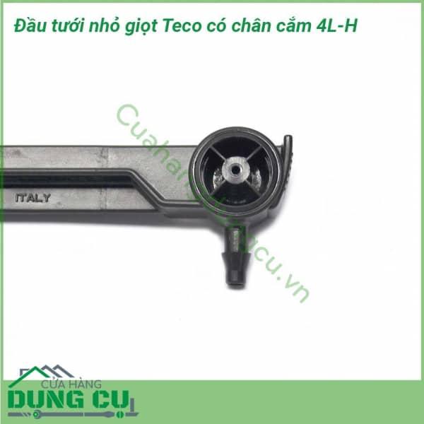 Đầu tưới nhỏ giọt Teco 4L/H bù áp cuối ống có chân cắm
