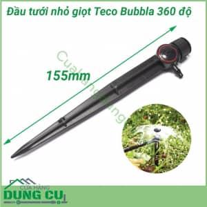 Đầu tưới nhỏ giọt Teco Bubbla 360 độ có chân cắm 75l/h;