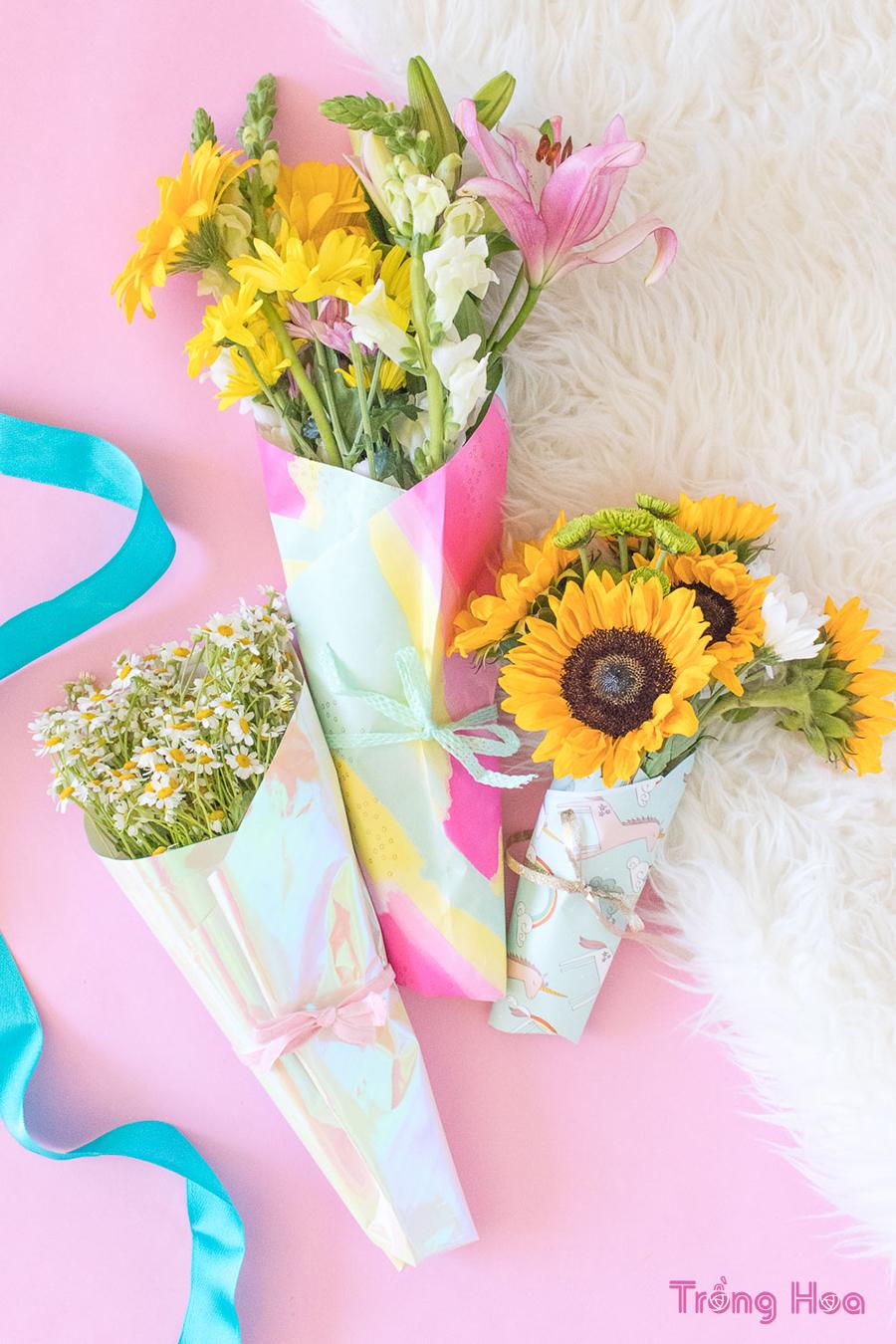Cách bó hoa bằng giấy gói